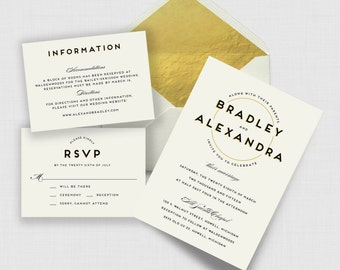 the gatsby collection | modern black and gold wedding suite