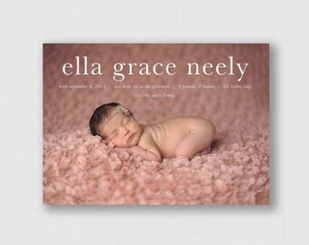 """Typography 5"""" x 7"""" Birth Announcement - Digital or Printed"""