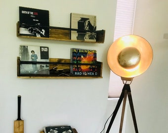 Vinyl Record Wall Holder Shelf floating With Steel Piping Pallets Reclaimed Wood Records Music Room Record Storage shelving