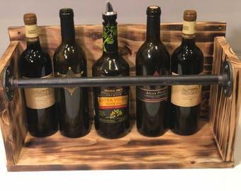 Industrial Wine or Liquor Bottle Holder Rack Shelf Burnt Reclaimed Wood Steel Pipe Piping Unique