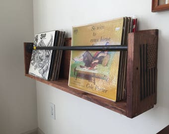 Vinyl Record Wall Holder Shelf Floating With Steel Piping Pallets Reclaimed Wood Records Music Room Storage Shelving