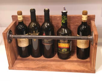 Industrial Wine or Liquor Bottle Holder Rack Shelf Cherry Finish Reclaimed Wood Steel Pipe Piping Unique