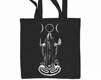 Hekate black cotton tote bag