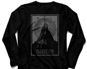 Black long sleeve unisex t-shirt grey ink MALEFICIUM