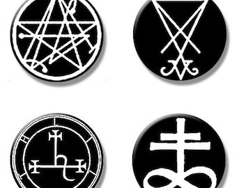 "Occult  satanic button pins size 1"" Necronomicon,Lucifer,Lilith sigil,Leviathan,Lilith 3 6"