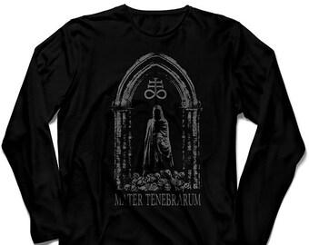 Black long sleeve unisex t-shirt grey ink TENEBRARUM