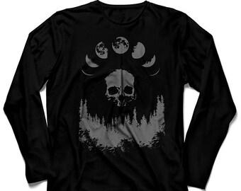 Black long sleeve unisex t-shirt grey ink MOON