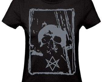 Skull HEXAGRAM black fitted woman t-shirt grey ink,occult t shirt,crowley shirt,esoteric clothing