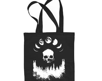 Moon black cotton tote bag