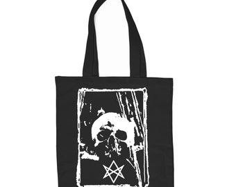 Hexagram black cotton tote bag