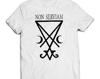Non Serviam white T-Shirt, sigil of Lucifer