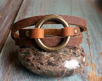 Leather Wrap Bracelets for Women - Womens Leather Cuff - Modern Boho Bracelet - Simple Leather Bracelets for Women