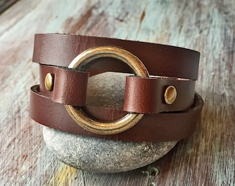 a9b89c61f Leather Wrap Bracelet, Leather Bracelet for Women, Leather Jewelry, English  Tan, Brown, Black, Natural, Anniversary Gift