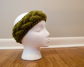 Chunky Knitted Cable Earwarmer - Sage // Ready to Ship