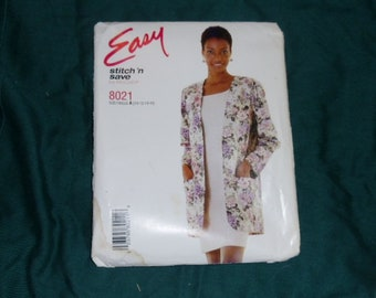 McCall's Easy Stitch 'N Save #8021 Jacket and Dress Size A (10-16)