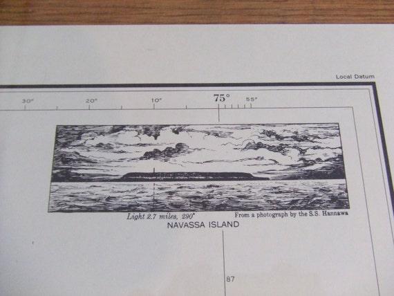 A smaller chart measuring at 21 wide x 18 high 1752 West Indies Navassa Island Caribbean Sea Nautical Chart