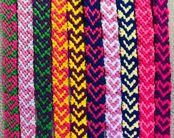 Heart Friendship Bracelet, Choose Colors, Woven, Best Friend, Love
