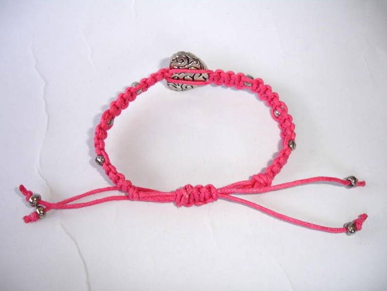 Heart Macrame Bracelet Silver Plated Heart Gift For Her Glass Beads Choose Color Adjustable