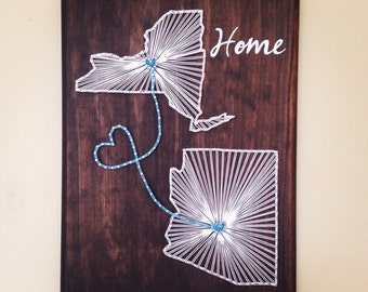 Two state, two hearts string art board