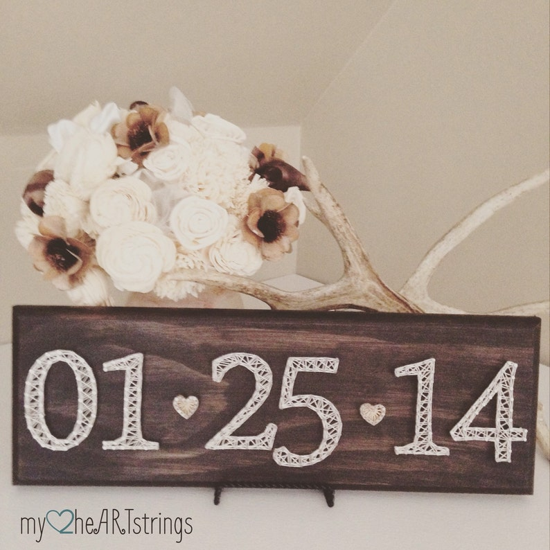 Date String Art sign made to order image 0