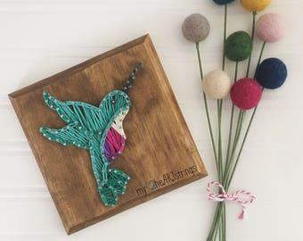 Mini hummingbird string art sign