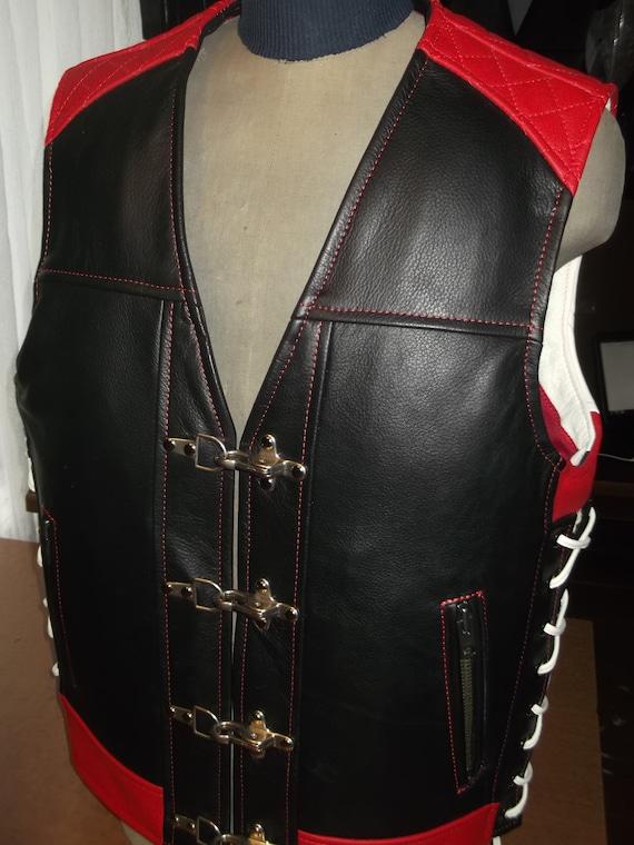 Veste de motard. Cuir véritable-1 8mm noir rouge blanc.   Etsy 0c9914a7d61