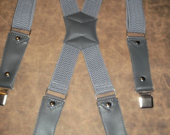 Leather Suspenders. Braces - gray. leather- gray.Handmade.Fits all sizes M-XXXXL.
