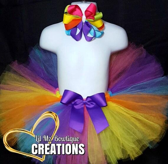 04686daf3d9 Rainbow tutu skirt and bow colorful tutus Tutus Tutu skirt