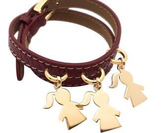 Women bracelet personalized leather double