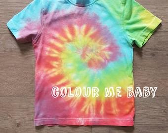 Traditional Tie dye rainbow swirl kids tshirt