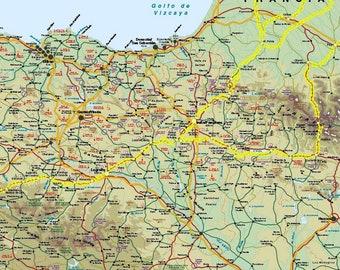 Camino santiago map   Etsy on