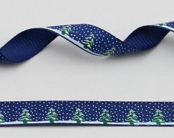"Christmas Tree and Snow Blue 10 mm 3/8"" Grosgrain Ribbon"