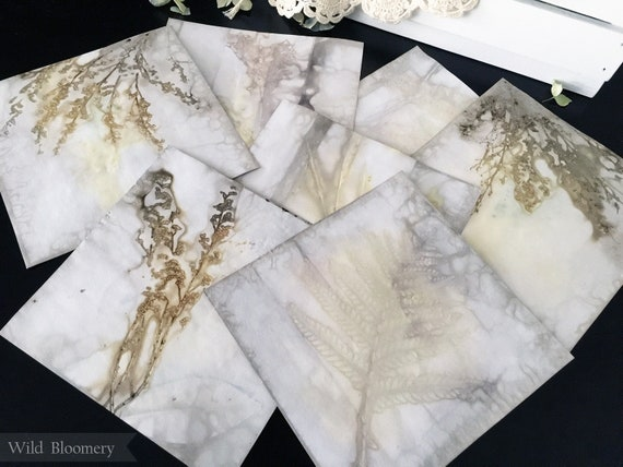 ECO Printed Paper 6 inch Square Tiles Batch No. 0001 - 6 in Square, 110 lb Cardstock ECO Dyed Paper - Plant Dyed Boiled Paper Art Prints