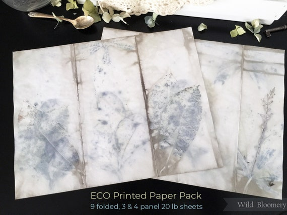 ECO Printed Paper Sheets Batch No. 0003 - Set of 9 - ECO Dyed Paper Panels - Plant Dyed Boiled Paper Art Prints