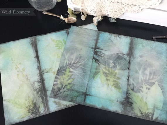 ECO Dyed Paper Sheets Batch No. 0001 - Set of 5 Tropical Designs - ECO Printed Paper Panels - Plant Dyed Boiled Paper Art Prints