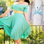 Women's Off-the-Shoulder Skater Dress - Custom / Made to Order / Plus sized - Special Occasion - Rockabilly Vintage Inspired - Disney Aurora