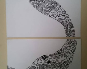 Chaotic Paisley B&W Painting
