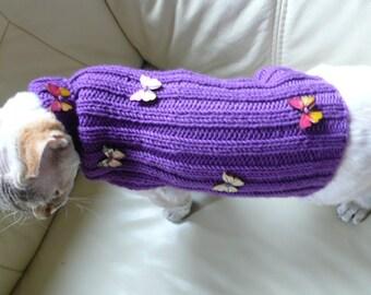 Hand knitted Cat Sweater Jumper Handgestrickte Pullover für Katze Sphynx Devon Rex hairless  handmade