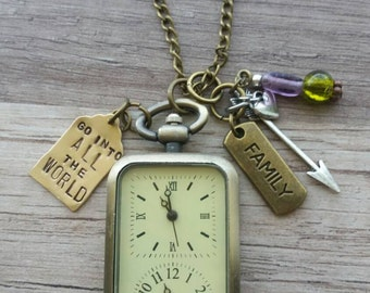 Two Time Zone, double clock Necklace ~ Perfect for a Missionary or Best Friend