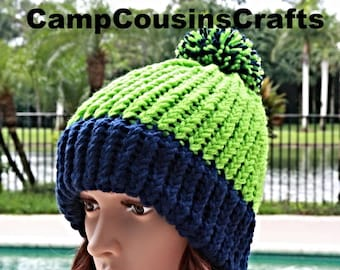 0202665d286dee SEATTLE SEAHAWKS knit hat,green knit hat,blue knit hat,cap,Seahawks beanie,winter  hat,snow hat,loom knit hat,toddler knit hat,kids knit hat