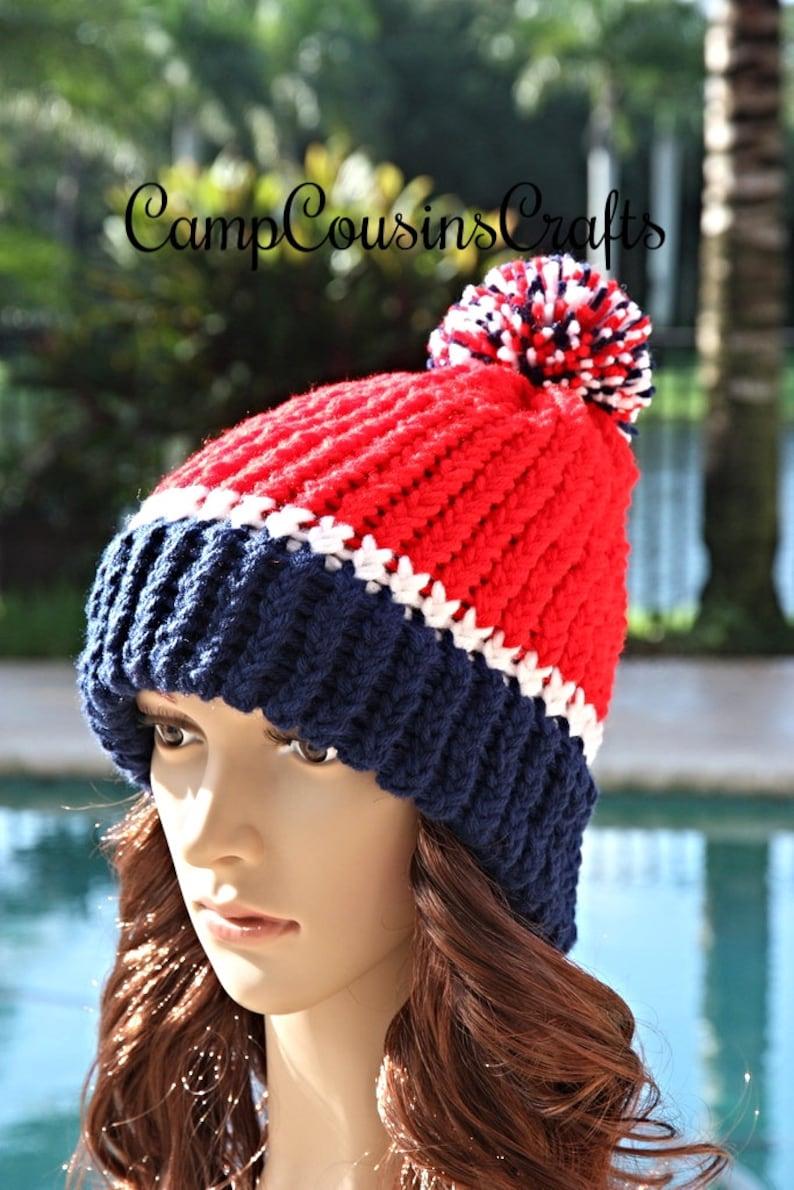 d2e14182b61 NEW ENGLAND PATRIOTS knit hat blue beaniered knit hatloom