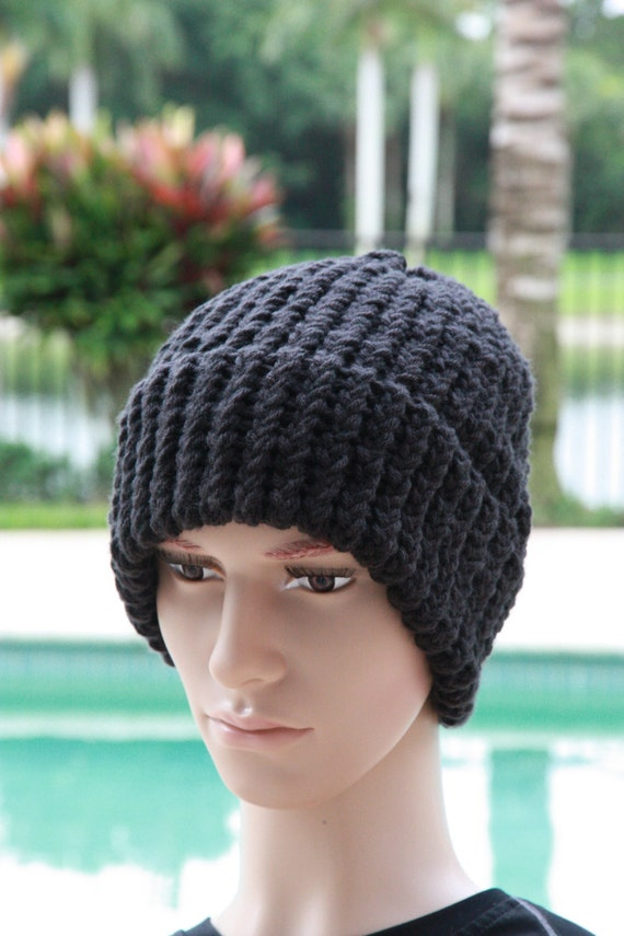 acc4ed58f35 Black knit hatmen womens beanieloom knit hathandmadewinter