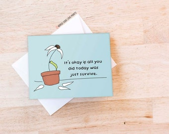 handmade Eve hand painted colorful card, day after day cheer up depression support Friendship encouragement greeting card Goddess