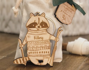 Personalized Baby's First Christmas Ornament | Raccoon Woodland Ornament | Custom Ornament Personalized with Name and Year