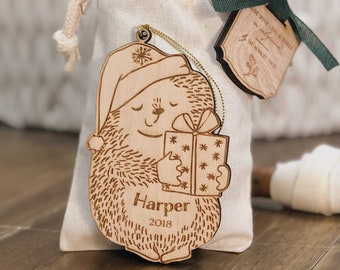 Personalized Baby's First Christmas Ornament | Hedgehog Woodland Ornament | Custom Ornament Personalized with Name and Year