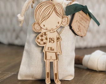 Personalized Baby or Child Soccer Girl Christmas Ornament | Soccer Wood Ornament | Custom Ornament Personalized with Name and Year