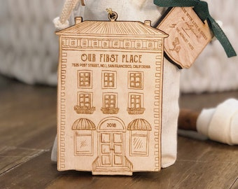 Personalized First Apartment or Home Christmas Ornament | Wood Ornament | Personalized with Address and Year