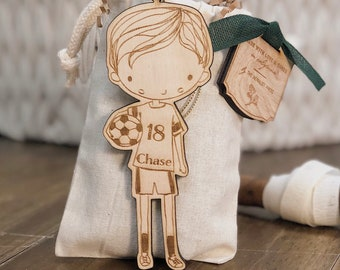 Personalized Baby or Child Soccer Boy Christmas Ornament | Soccer Wood Ornament | Custom Ornament Personalized with Name and Year