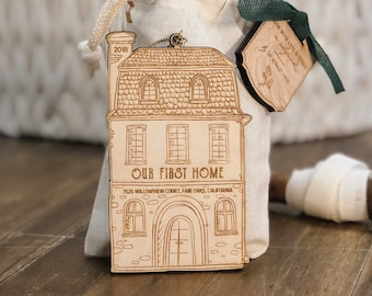 Personalized First Home Christmas Ornament | Wood Ornament | Personalized with Address and Year