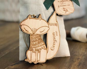 Personalized Baby's First Christmas Ornament | Fox Woodland Ornament | Custom Ornament Personalized with Name and Year